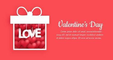 Fondo de San Valentín con corazones en una caja de regalo. vector