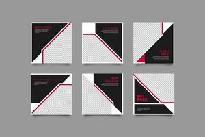 conjunto de publicaciones de redes sociales de marketing vector