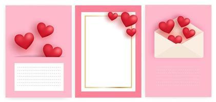 conjunto de tarjetas de felicitación del día de San Valentín con corazones y letras. vector