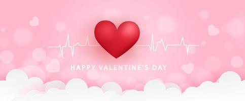 Banner de San Valentín con corazón en las nubes. vector