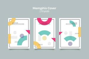 Memphis cover collection with abstract shapes vector