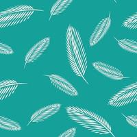 Green leaves of palm tree seamless pattern background. vector