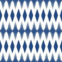 Blue color Ikat seamless pattern  background. Design for wallpaper, carpet, clothing, wrapping, fabric, pillow textile decoration. vector