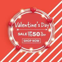 banner de venta de san valentín. vector
