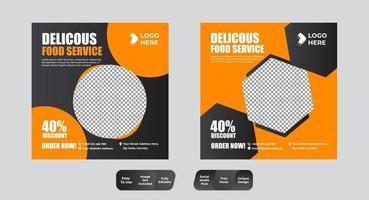 Food and Restaurant Social Media Post Design Template Set vector
