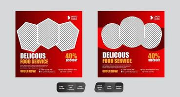 Food Menu Banner Template Social Media Set vector