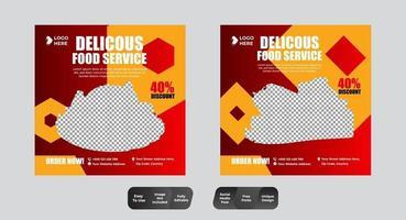Conjunto de plantillas de diseño de publicación de banner de redes sociales de comida de restaurante vector