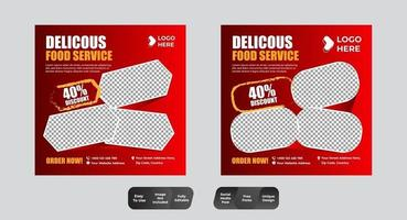conjunto de publicaciones de redes sociales de comida y bebida vector
