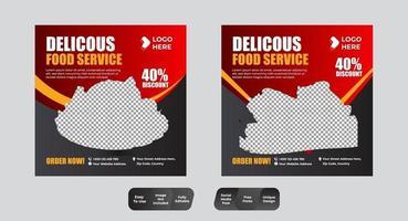 menú de comida plantilla de banner conjunto de redes sociales vector