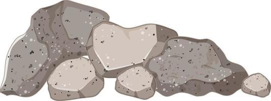 Set of gray stones on white background