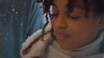 Close up of talking girl, eyes down video
