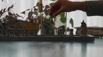 primer plano, de, tablero de ajedrez, y, piezas de ajedrez, en, tabla, manos, de, asiático, joven, y, negro, mujer joven, pieza móvil