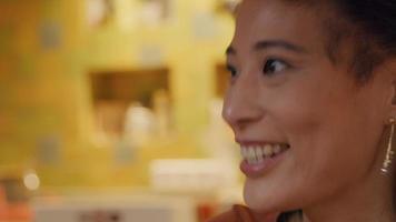 närbild på kvinna, prata levande video