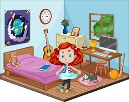 parte del dormitorio de la escena infantil con una niña en estilo de dibujos animados vector