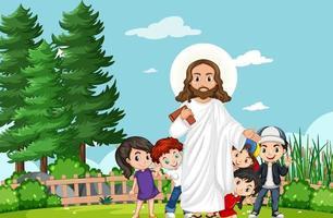jesus con niños en el parque vector
