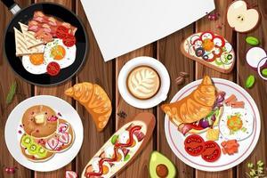vista superior del desayuno en la mesa vector