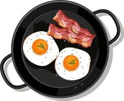 desayuno en la sartén aislado vector