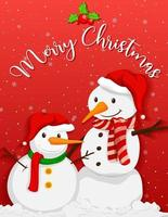 Cute snowman with christmas tree on red background vector