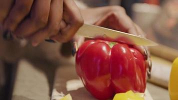 Close up of hands of woman and girl, cutting paprika together with knife on cutting board video