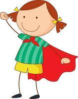 personaje de dibujos animados de niña superhéroe en estilo doodle dibujado a mano aislado vector