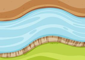 Aerial view of river close up vector