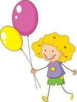 un niño doodle sosteniendo globos personaje de dibujos animados aislado vector
