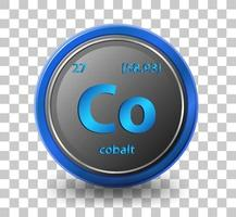 Cobalt chemical element. Chemical symbol with atomic number and atomic mass. vector