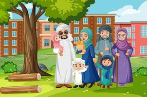 Outdoor scene with member of arab family vector