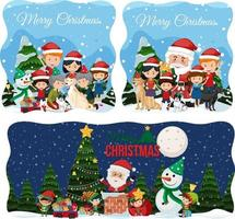 Set of different Merry Christmas scene with Santa Claus vector