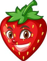 personaje de dibujos animados de fresa con expresión facial vector