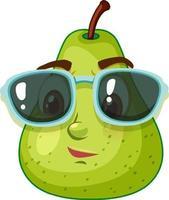 Personaje de dibujos animados de pera verde con gafas de sol sobre fondo blanco. vector