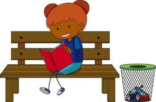 A doodle kid reading a book cartoon character isolated vector