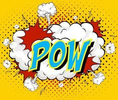 Word Pow on comic cloud explosion background