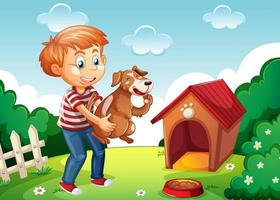 Boy holding a dog in nature scene white doghouse