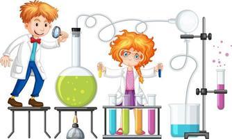 estudiante con elementos de experimento de química. vector