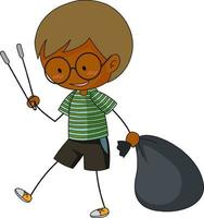A doodle boy cleaning trash cartoon character isolated vector