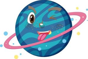 Saturn cartoon character with funny face expression on white background vector