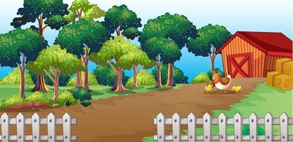 Outdoor scene with a long trail to the farm house vector