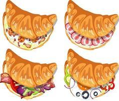 Conjunto de diferentes sándwiches de croissant aislado vector