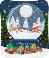 Merry Christmas font with Santa Claus in snow scene vector