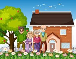 Group of old people standing in front of a house vector