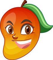 personaje de dibujos animados de mango con expresión facial vector