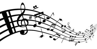 Colección de notas musicales y notas musicales en un pentagrama. vector