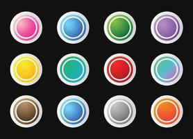 Circles round buttons set vector
