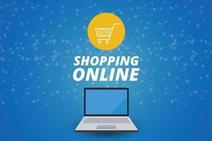 Shopping online on website, marketing concept, vector design.