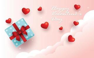 feliz día de san valentín, caja de regalo y fondo de corazones vector