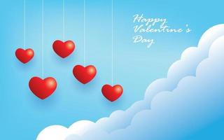 happy valentine's day, hanging hearts background vector