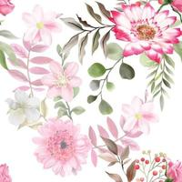 elegant seamless pattern with beautiful floral hand drawn design