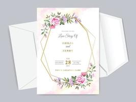 beautiful floral hand drawn wedding invitation card template vector