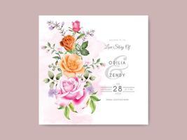hermosa y elegante tarjeta de invitación de boda floral dibujada a mano vector